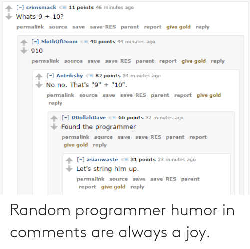 random: Random programmer humor in comments are always a joy.