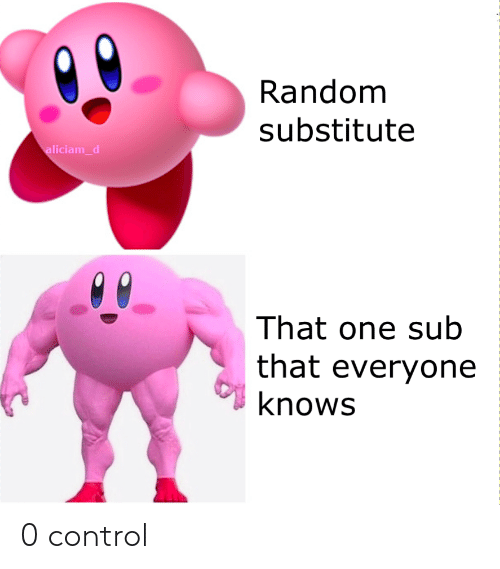 Control, Random, and One: Random  substitute  aliciam_d  That one sub  that everyone  knows 0 control