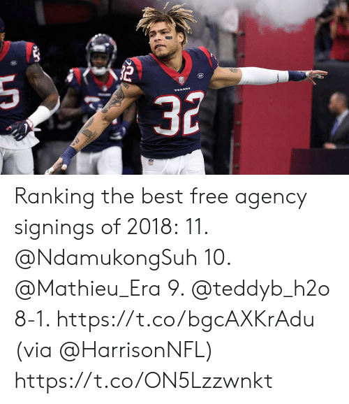 Memes, Best, and Free: Ranking the best free agency signings of 2018:  11. @NdamukongSuh 10. @Mathieu_Era 9. @teddyb_h2o  8-1. https://t.co/bgcAXKrAdu (via @HarrisonNFL) https://t.co/ON5Lzzwnkt
