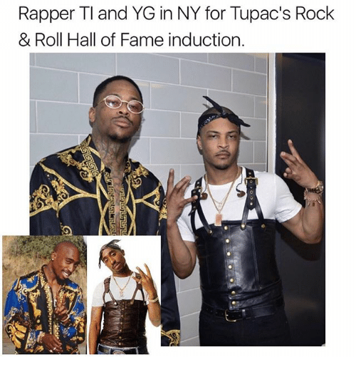 induction: Rapper TI and YG in NY for Tupac's Rock  & Roll Hall of Fame induction.