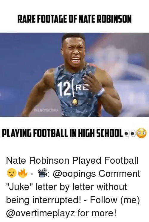 """juke: RARE FOOTAGE OF NATE ROBINSON  RE  PLAYING FOOTBALL INHIGHSCHOOL  e Nate Robinson Played Football😦🔥 - 📽: @oopings Comment """"Juke"""" letter by letter without being interrupted! - Follow (me) @overtimeplayz for more!"""