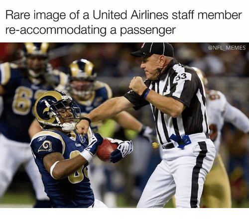 accommodating: Rare image of a United Airlines staff member  re-accommodating a passenger  @NFL MEMES  253