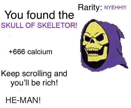 DeMarcus Cousins: Rarity: NYEHHII  You found the  SKULL OF SKELETOR!  +666 calcium  Keep scrolling and  you'll be rich! HE-MAN!