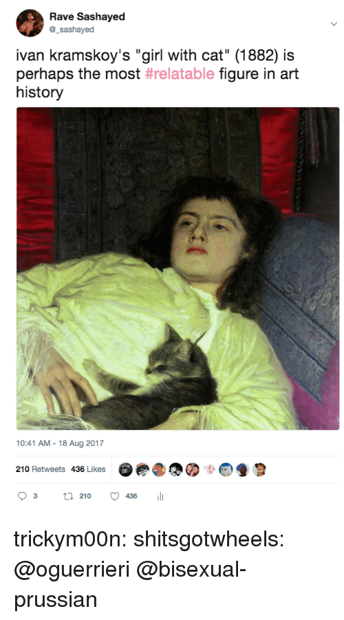 """art history: Rave Sashayed  @_sashayed  ivan kramskoy's """"girl with cat"""" (1882) is  perhaps the most #relatable figure in art  history  10:41 AM-18 Aug 2017  210 Retweets 436 Likes  03 21° 436 111 trickym00n:  shitsgotwheels: @oguerrieri  @bisexual-prussian"""