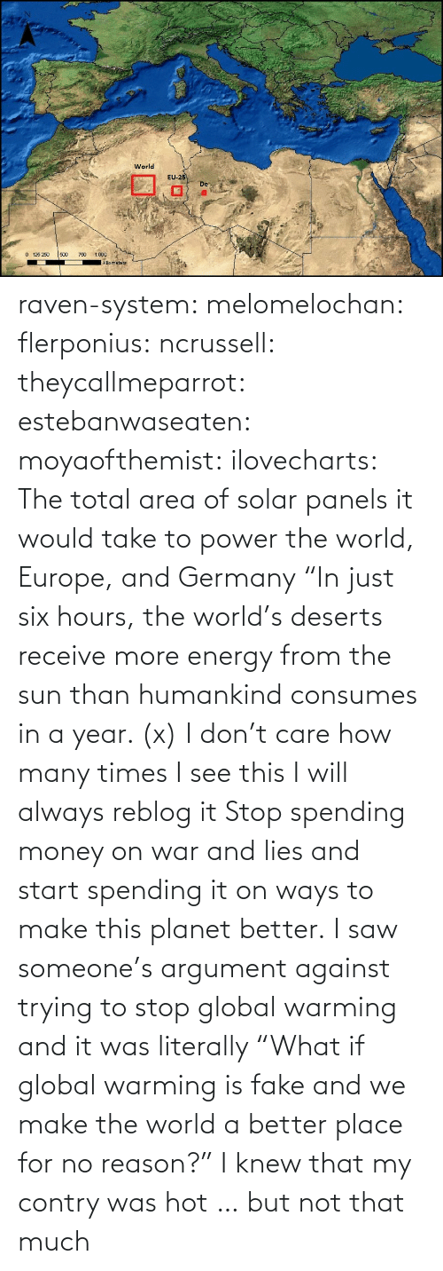 "no reason: raven-system:  melomelochan:   flerponius:  ncrussell:  theycallmeparrot:  estebanwaseaten:  moyaofthemist:  ilovecharts:  The total area of solar panels it would take to power the world, Europe, and Germany    ""In just six hours, the world's deserts receive more energy from the sun than humankind consumes in a year. (x)  I don't care how many times I see this I will always reblog it  Stop spending money on war and lies and start spending it on ways to make this planet better.   I saw someone's argument against trying to stop global warming and it was literally ""What if global warming is fake and we make the world a better place for no reason?""  I knew that my contry was hot … but not that much"