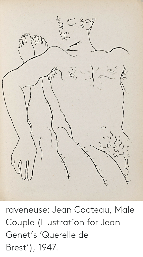 couple: raveneuse: Jean Cocteau, Male Couple (Illustration for Jean Genet's 'Querelle de Brest'), 1947.