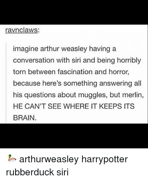 fascination: ravnclaws  imagine arthur weasley having a  conversation with siri and being horribly  torn between fascination and horror,  because here's something answering all  his questions about muggles, but merlin,  HE CAN'T SEE WHERE IT KEEPS ITS  BRAIN. 🦆 arthurweasley harrypotter rubberduck siri