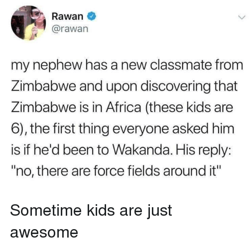 "Africa, Kids, and Awesome: Rawan  @rawan  my nephew has a new classmate from  Zimbabwe and upon discovering that  Zimbabwe is in Africa (these kids are  6), the first thing everyone asked him  is if he'd been to Wakanda. His reply:  ""no, there are force fields around it"" Sometime kids are just awesome"