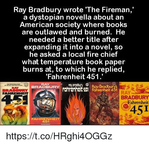 the dystopian warning in ray bradburys fahrenheit For more than 60 years, ray bradbury's science fiction classic fahrenheit 451 has sparked imagination, debate, and rebellion the dystopian story of a man who burns books to prevent the.