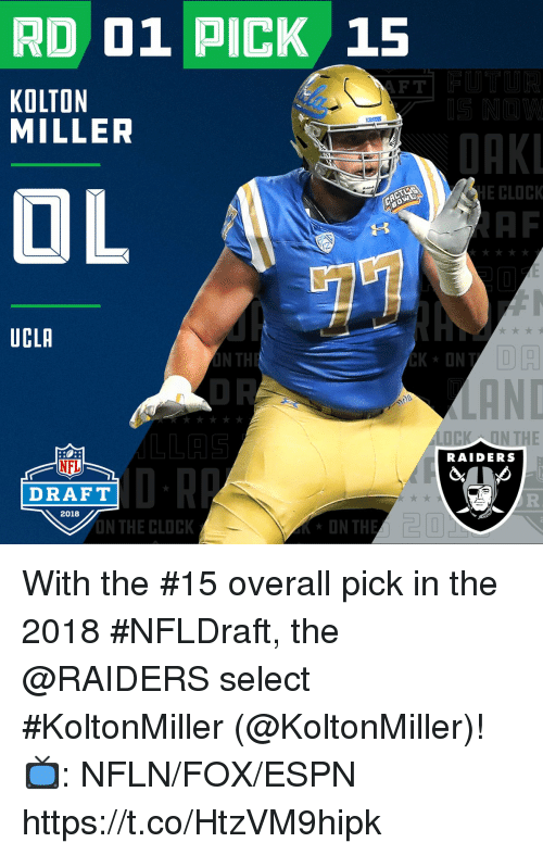 ucla: RD 01 PICK 15  F T  KOLTON  MILLER  OAK  OL  E CLOCK  AF  UCLA  LOCK ON THE  RAIDERS  NFL  DRAFT  2018  N THE CLOCK With the #15 overall pick in the 2018 #NFLDraft, the @RAIDERS select #KoltonMiller (@KoltonMiller)!   📺: NFLN/FOX/ESPN https://t.co/HtzVM9hipk