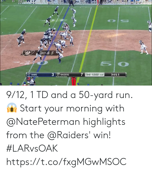 5 7: RD & 5  7 3rd 12:02 :13  3rd & 5  RAIDERS  RAMS 9/12, 1 TD and a 50-yard run. 😱  Start your morning with @NatePeterman highlights from the @Raiders' win! #LARvsOAK https://t.co/fxgMGwMSOC