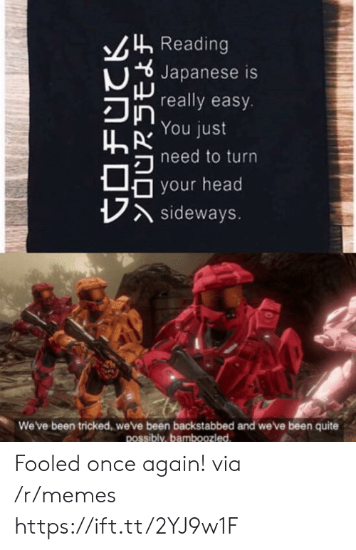 Head, Memes, and Quite: Reading  Japanese is  really easy.  You just  hneed to turn  your head  Asideways.  We've been tricked, we've been backstabbed and we've been quite  possibly, bamboozled Fooled once again! via /r/memes https://ift.tt/2YJ9w1F