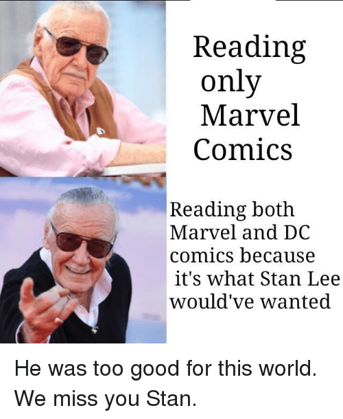 We Miss You: Reading  only  Marvel  Comics  Reading both  Marvel and DC  comics because  it's what Stan Lee  would've wanted He was too good for this world. We miss you Stan.