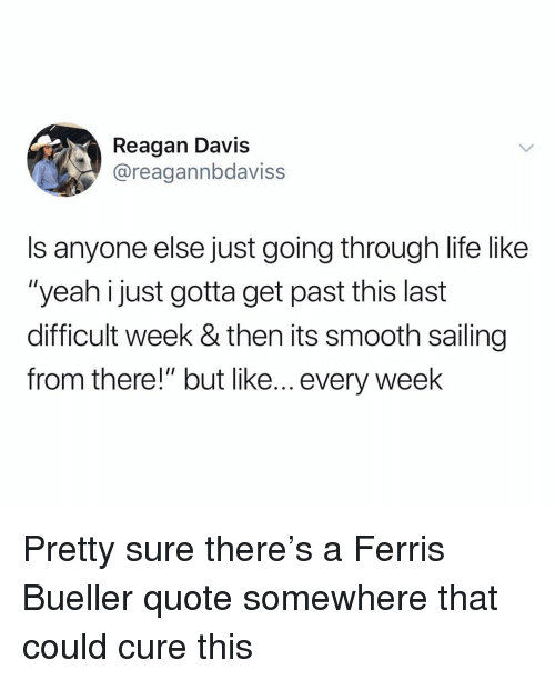 "Life, Smooth, and Yeah: Reagan Davis  @reagannbdaviss  Is anyone else just going through life like  ""yeah i just gotta get past this last  difficult week & then its smooth sailing  from there!"" but like... every week Pretty sure there's a Ferris Bueller quote somewhere that could cure this"