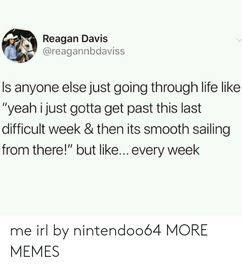 "Dank, Life, and Memes: Reagan Davis  @reagannbdaviss  Is anyone else just going through life like  ""yeah i just gotta get past this last  difficult week & then its smooth sailing  from there!"" but like... every week me irl by nintendoo64 MORE MEMES"