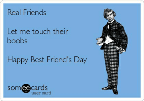best friends day: Real Friends  Let me touch their  boobs  Happy Best Friend's Day  someecards  user card