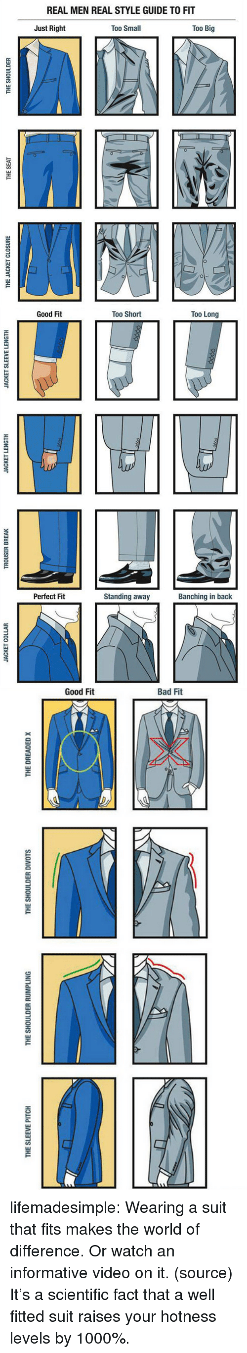 The Dreaded: REAL MEN REAL STYLE GUIDE TO FIT  Just Right  Too Small  Too Big  0  1   Good Fit  Too Short  Too Long  Perfect Fit  Standing away  Banching in back   THE SLEEVE PITCH  THE SHOULDER RUMPLING  THE SHOULDER DIVOTS  THE DREADED x lifemadesimple:  Wearing a suit that fits makes the world of difference. Or watch an informative video on it. (source)  It's a scientific fact that a well fitted suit raises your hotness levels by 1000%.