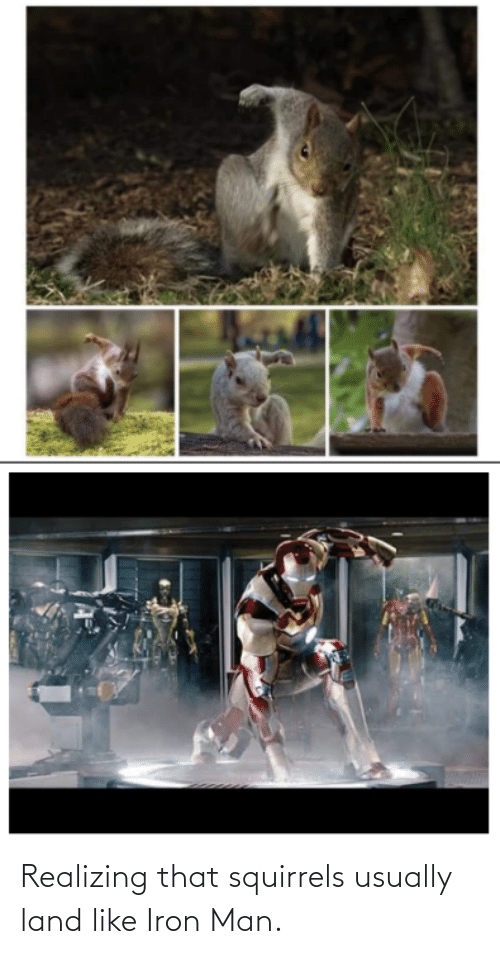 iron: Realizing that squirrels usually land like Iron Man.