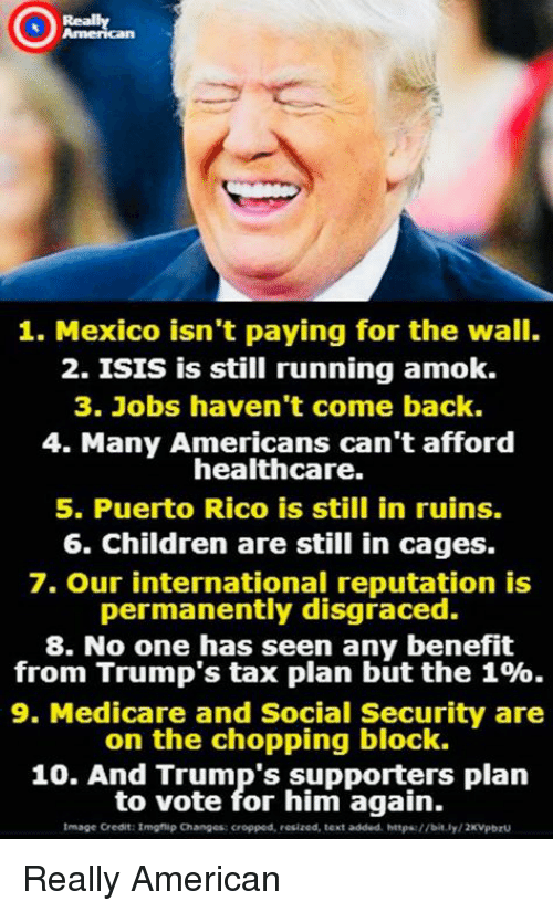 Puerto Rico: Really  1. Mexico isn't paying for the wall.  2. ISIS is still running amok.  3. Jobs haven't come back.  4. Many Americans can't afford  healthcare.  5. Puerto Rico is still in ruins.  6. Children are still in cages.  7. Our international reputation is  permanently disgraced.  8. No one has seen any benefit  from Trump's tax plan but the 1%.  9. Medicare and Social Security are  on the chopping block.  10. And Trump's supporters plan  to vote for him again.  Image Credit:Imghip Changes: cropped, resized, text added httpa://bit.ly/2KVpbrU Really American
