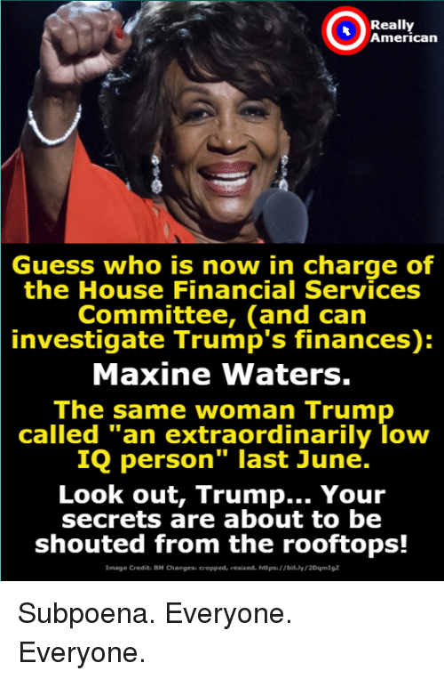 """American, Guess, and House: Really  American  Guess who is now in charge of  the House Financial Services  Committee, (and can  investigate Trump's finances):  Maxine Waters.  The same woman Trump  called """"an extraordinarily loww  IQ person"""" last June.  Look out, Trump... Your  secrets are about to be  shouted from the rooftops!  Image Credit: BM Changesi cropped, resized. httpsi//bit.ly/2DqmIgz Subpoena. Everyone.  Everyone."""