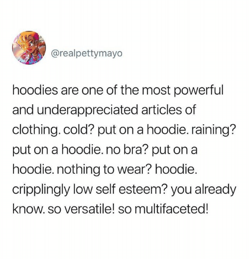 Dank, Cold, and Powerful: @realpettymayo  hoodies are one of the most powerful  and underappreciated articles of  clothing. cold? put on a hoodie. raining?  put on a hoodie.no bra? put on a  hoodie. nothing to wear? hoodie.  cripplingly low self esteem? you already  know. so versatile! so multifaceted!