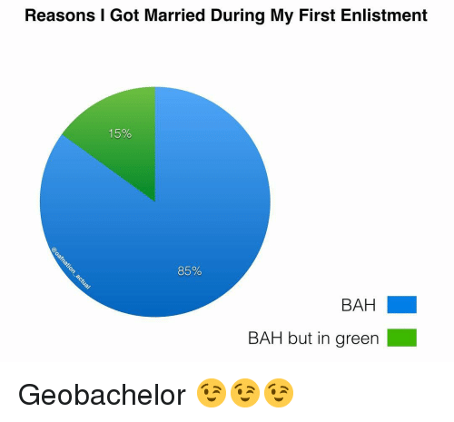 Memes, 🤖, and Got: Reasons I Got Married During My First Enlistment  15%  85%  BAH  BAH but in green Geobachelor 😉😉😉