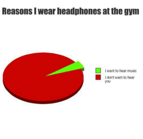 Gym, Music, and Headphones: Reasons I wear headphones at the gym  want to hear music  I don't want to hear  you