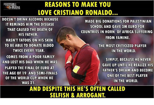 Africa, Cristiano Ronaldo, and Dad: REASONS TO MAKE YOU  LOVE CRISTIANO RONALDO  DOESN'T DRINK ALCOHOL BECAUSE  IT REMINDS HIM THE DISEASE  THAT CAUSED THE DEATH OF  MADE BIG DONATIONS FOR PALESTINIAN  SCHOOL AND GAVE 3M EURO FOR  COUNTRIES IN HORN OF AFRICA SUFFERING  FROM FAMINE  HIS FATHER  HASN'T TATOOS ON HIS SKIN  TO BE ABLE TO DONATE BL00D  TWICE EVERY YEAR.  THE MOST CRITICIZED PLAYER  IN THE WORLD.  COMES FROM A POOR FAMILY  AND LOST HIS DAD WHEN HE WAS  PLAYED THE FINAL OF EURO AT  THE AGE OF 19 AND SEMI-FINALS  OF THE WORLD CUP WHEN HE  SIMPLY, BECAUSE HE NEVER  GAVE UP UNTIL HE REALIZE HIS  FATHER'S DREAM AND BECOME  ONE OF THE BEST PLAYER  IN THE WORLD.  WAS 21  AND DESPITE THIS HE'S OFTEN CALLED  SELFISH & ARROGANT.