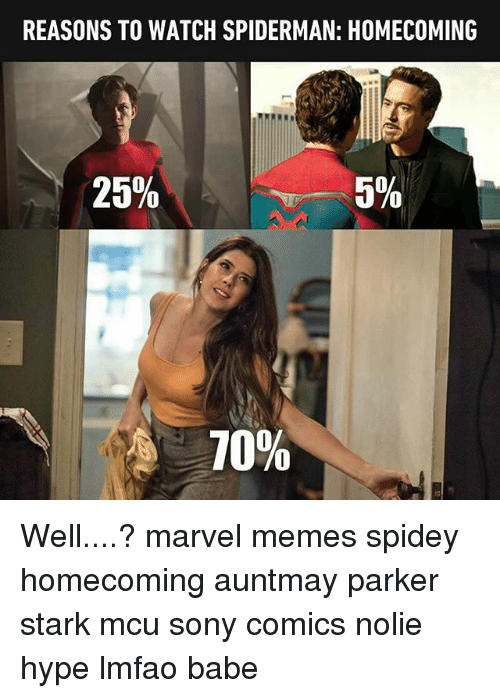 Marvel Memes: REASONS TO WATCH SPIDERMAN: HOMECOMING  25%  5%  10% Well....? marvel memes spidey homecoming auntmay parker stark mcu sony comics nolie hype lmfao babe