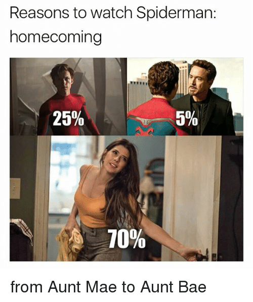 Bae, Memes, and Spiderman: Reasons to watch Spiderman:  homecoming  25%  5%  70% from Aunt Mae to Aunt Bae