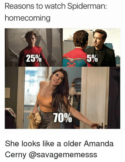 Memes, Spiderman, and Watch: Reasons to watch Spiderman:  homecoming  25%  5%  70% She looks like a older Amanda Cerny @savagememesss