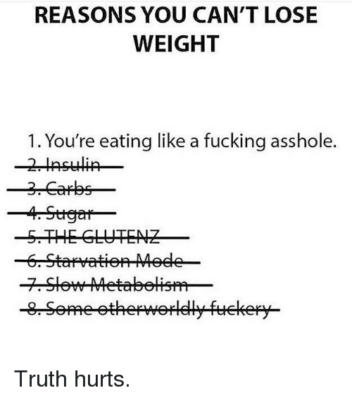 Fucking, Gym, and Truth: REASONS YOU CAN'T LOSE  WEIGHT  1. You're eating like a fucking asshole.  -5.THE GLUTENZ Truth hurts.