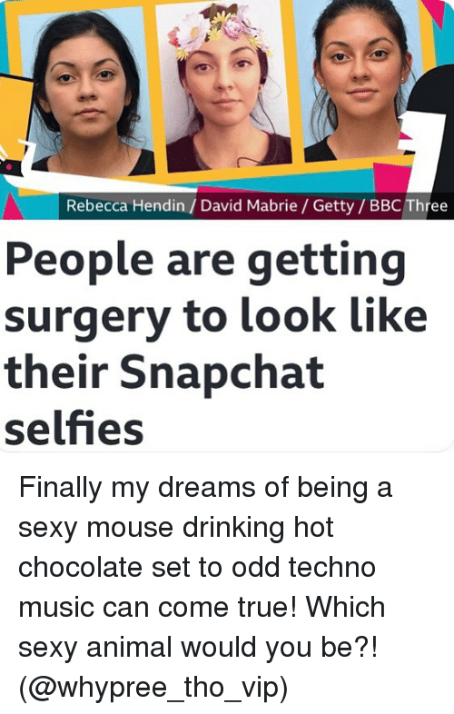 techno: Rebecca Hendin/ David Mabrie / Getty/ BBC Three  People are getting  surgery to look like  their Snapchat  selfies Finally my dreams of being a sexy mouse drinking hot chocolate set to odd techno music can come true! Which sexy animal would you be?! (@whypree_tho_vip)