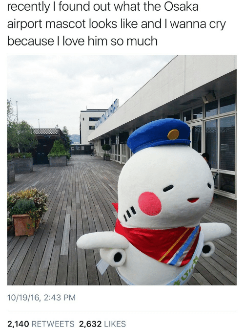 Found Out: recently I found out what the Osaka  airport mascot looks like and I wanna cry  because I love him so much  10/19/16, 2:43 PM  2,140 RETWEETS 2,632 LIKES
