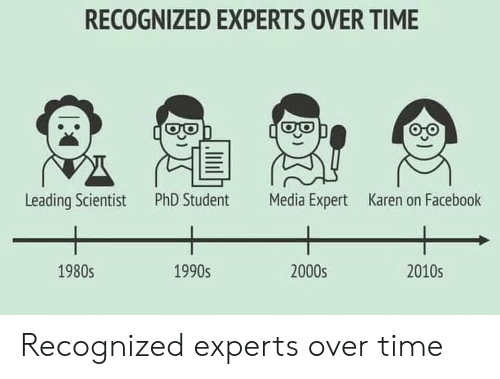2000s: RECOGNIZED EXPERTS OVER TIME  Leading Scientist  PhD Student  Media Expert  Karen on Facebook  1990s  2000s  2010s  1980s Recognized experts over time