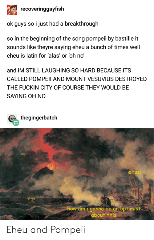 bastille: recoveringgayfish  ok guys so i just had a breakthrough  so in the beginning of the song pompeii by bastille it  sounds like theyre saying eheu a bunch of times well  eheu is latin for 'alas' or 'oh no'  and iM STILL LAUGHING SO HARD BECAUSE ITS  CALLED POMPEII AND MOUNT VESUVIUS DESTROYED  THE FUCKIN CITY OF COURSE THEY WOULD BE  SAYING OH NO  thegingerbatch  cheu  eh  eheu  how am i gonna be an optimistY  about this Eheu and Pompeii