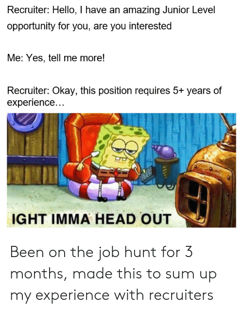 Sum Up: Recruiter: Hello, I have an amazing Junior Level  opportunity for you, are you interested  Me: Yes, tell me more!  Recruiter: Okay, this position requires 5+ years of  experience...  IGHT IMMA HEAD OUT Been on the job hunt for 3 months, made this to sum up my experience with recruiters