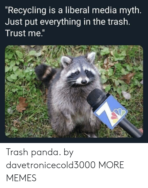 "liberal: ""Recycling is a liberal media myth.  Just put everything in the trash.  Trust me."" Trash panda. by davetronicecold3000 MORE MEMES"