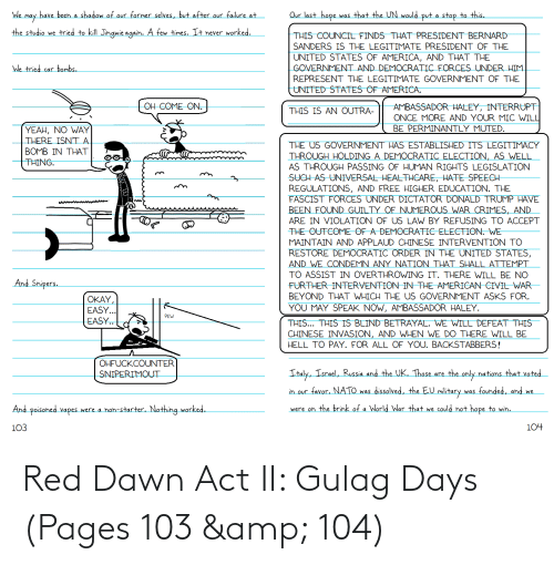 pages: Red Dawn Act II: Gulag Days (Pages 103 & 104)