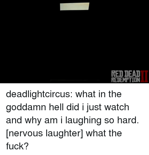 Deat: RED DEAT  REDEMPTION deadlightcircus:  what in the goddamn hell did i just watch and why am i laughing so hard.  [nervous laughter] what the fuck?