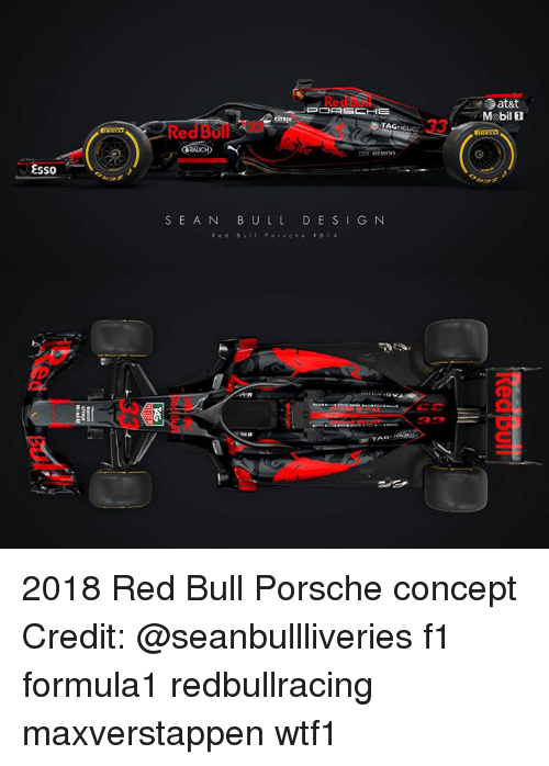 mobilicity: Red  Mobil 1  TAG  Red Bo  EH SIEMENS  SSO  SEA N B ULL DE S IG N 2018 Red Bull Porsche concept Credit: @seanbullliveries f1 formula1 redbullracing maxverstappen wtf1