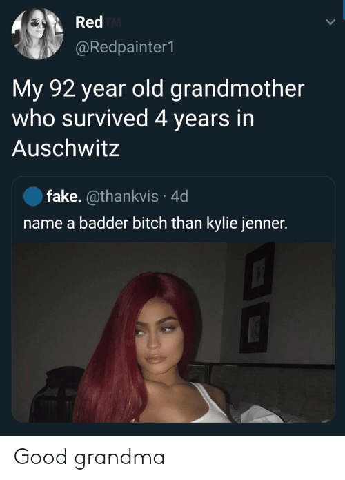 Bitch, Fake, and Grandma: Red TM  @Redpainter1  My 92 year old grandmother  who survived 4 years in  Auschwitz  fake. @thankvis 4d  name a badder bitch than kylie jenner. Good grandma