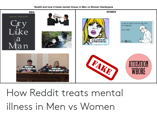 your ecards: Reddit and how it treats mental illness in Men vs Women Starterpack  WOMEN  MEN  JASON WILSON  Сry  Like  Cause of death: Not enough likes  on Facebook  Time: 0420  а  Me  ALL I WANTED WAS  ТОВE AVICTIM..  your ecards  Man  The big sad  PECTVERTIK  KPMM  FAKE  ATTENTION  WHORE  WHEN A GUY  SAYS HE NEEDS HELP  WHEN A GIRL  SAYS SHE NEEDS HELP How Reddit treats mental illness in Men vs Women