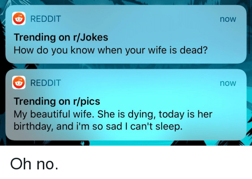 Beautiful, Birthday, and Facepalm: REDDIT  now  Trending on r/Jokes  How do you know when your wife is dead?  REDDIT  now  Trending on r/pics  My beautiful wife. She is dying, today is her  birthday, and i'm so sad I can't sleep.