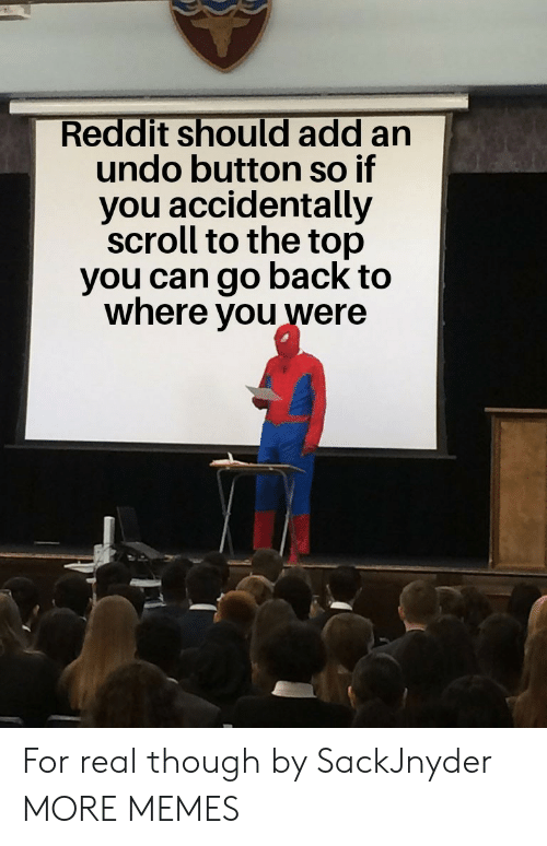 Dank, Memes, and Reddit: Reddit should add an  undo button so if  you accidentally  scroll to the top  you can go back to  where you were For real though by SackJnyder MORE MEMES