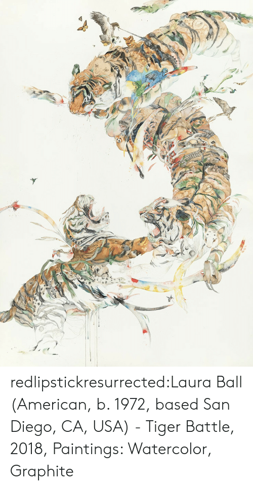 San Diego: redlipstickresurrected:Laura Ball (American, b. 1972, based San Diego, CA, USA) - Tiger Battle, 2018, Paintings: Watercolor, Graphite