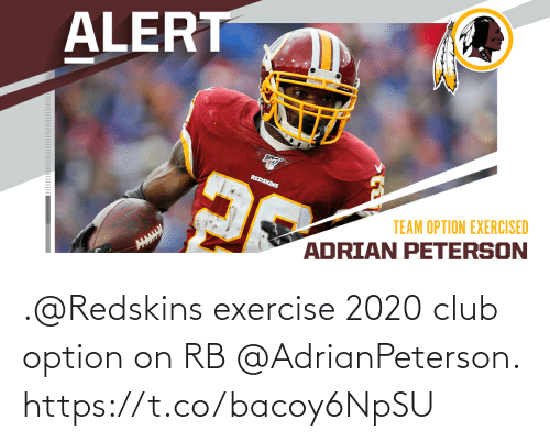 Washington Redskins: .@Redskins exercise 2020 club option on RB @AdrianPeterson. https://t.co/bacoy6NpSU
