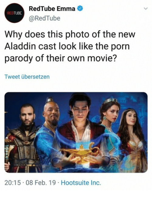 hootsuite: RedTube Emma  @RedTube  REDTUBE  Why does this photo of the new  Aladdin cast look like the porn  parody of their own movie?  Tweet übersetzen  20:15 08 Feb. 19 Hootsuite Inc.
