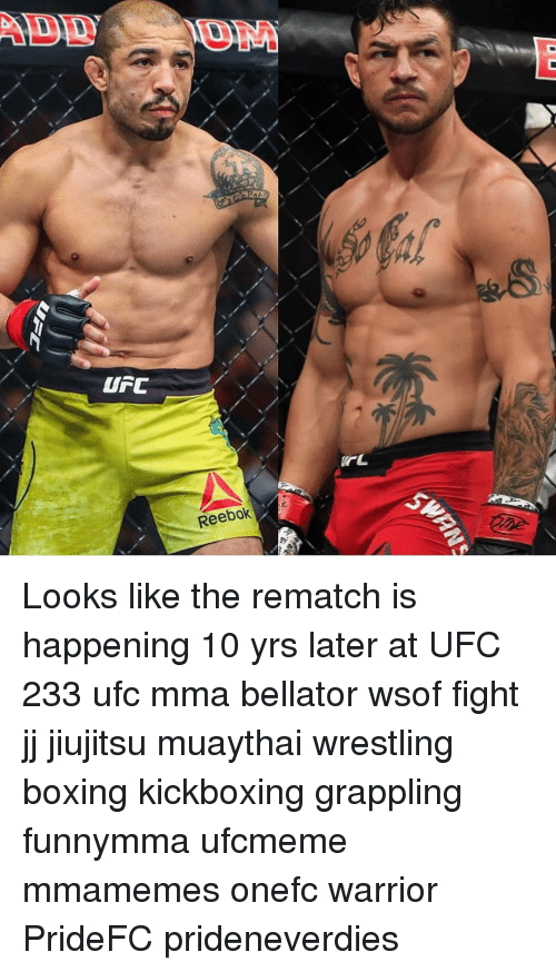 Boxing, Memes, and Reebok: Reebok Looks like the rematch is happening 10 yrs later at UFC 233 ufc mma bellator wsof fight jj jiujitsu muaythai wrestling boxing kickboxing grappling funnymma ufcmeme mmamemes onefc warrior PrideFC prideneverdies