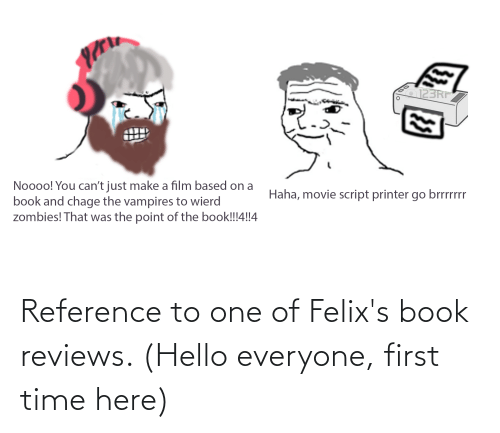 Reviews: Reference to one of Felix's book reviews. (Hello everyone, first time here)
